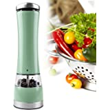 Stainless Steel Battery Operated Salt or Best Electric Pepper Mill with Adjustable Ceramic Grinder | Vivid Color– Green