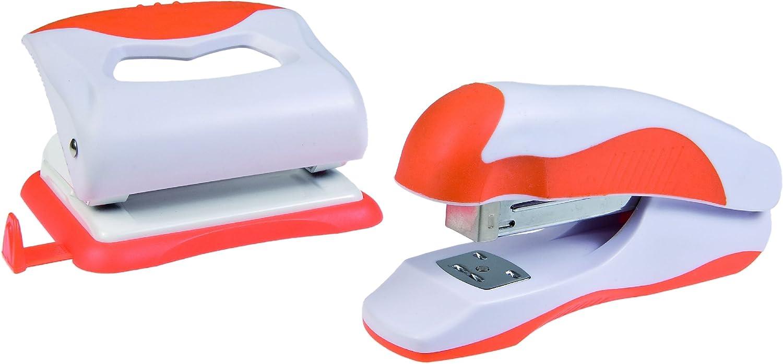 bianco//arancione colore Idena 300829 Set perforatrice e pinzatrice