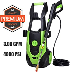 PowRyte Elite 4000PSI 3.0 GPM Electric Pressure Washer, 1800Wat 15A Electric Power Washer,Farm Washer Machine with 5 Quick-Connect Spray Nozzles/Green