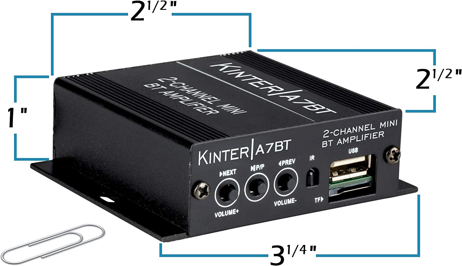 Includes 12V Power Supply Kinter A7BT 2-Channel 2 x 20 Watt Mini Bluetooth Amplifier for Home Auto Motorcycle DIY with IR Remote Handlebar Mounted Control USB MP3
