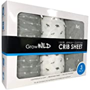 Premium Crib Sheets 3 Pack   100% Cotton, Jersey Soft   Boy or Girl Baby or Toddler Mattress   Grey Arrows, Animals, Campsites