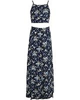 Huide Boho imprimir backless bow vestido de verão divisão Sexy two-piece set mulheres botton