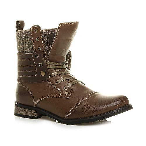 Ajvani Uomo Tacco Basso Collare ripiegare Imbottito Stringhe Militare Military Lace up Ankle Boots Stivaletti Numero