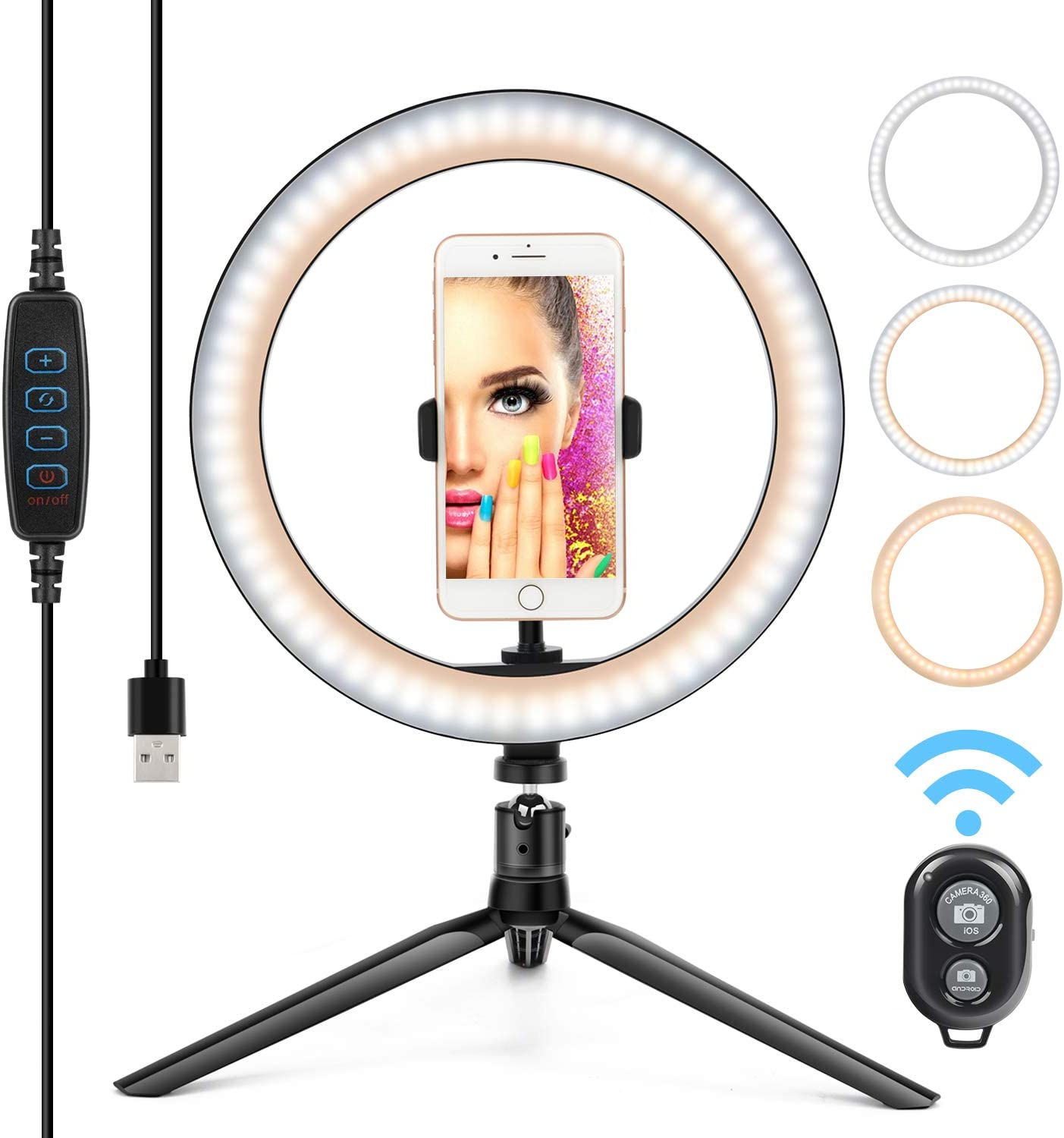 "10"" Ring Light LED Desktop Selfie Lamp 2700-6500K Dimmable 3 Colors 10 Brightness with Tripod Stand & Cell Phone Holder and Remote Control for YouTube Video Makeup USB LED Desk Camera Ringlight"