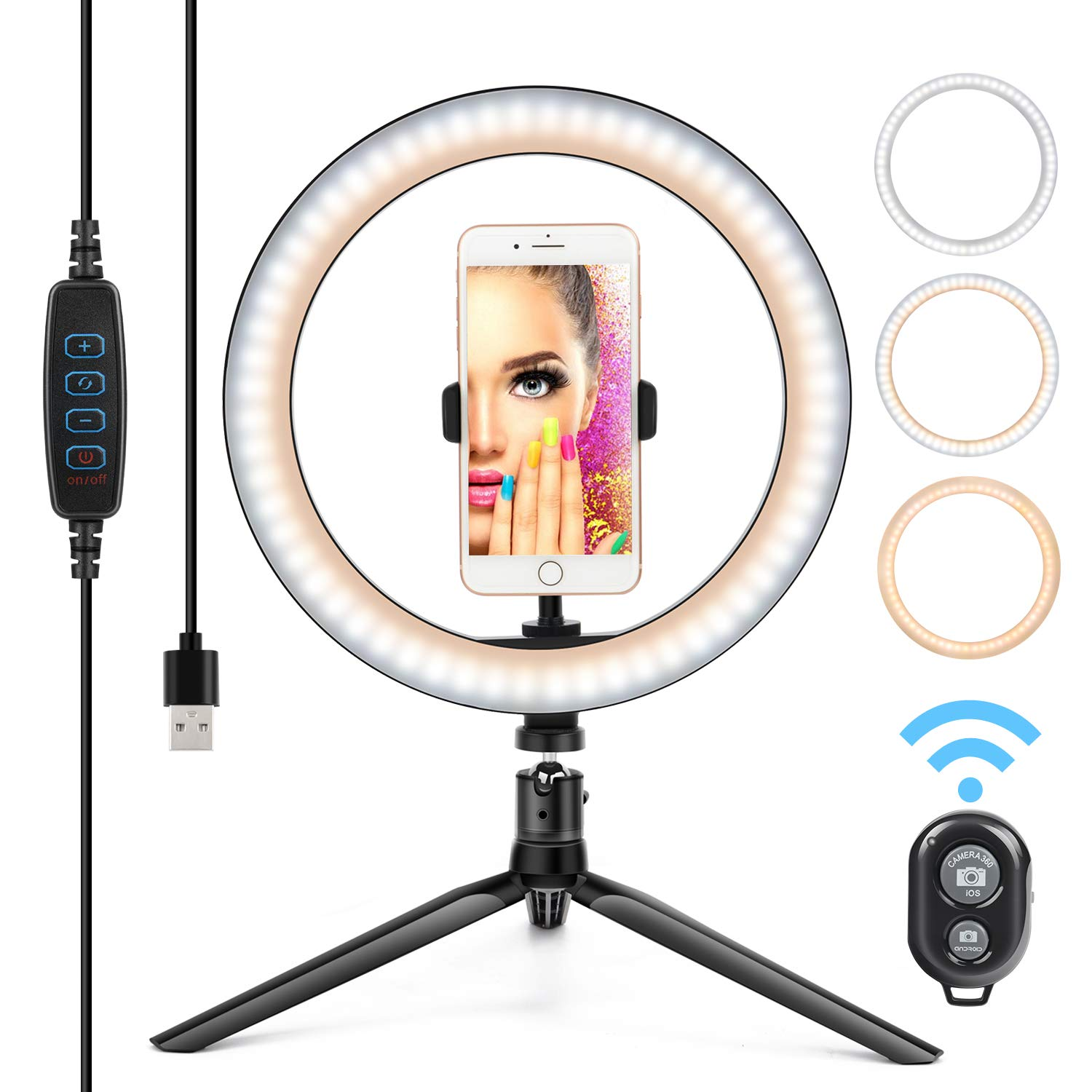 10'' Ring Light LED Desktop Selfie Lamp 2700-6500K Dimmable 3 Colors 10 Brightness with Tripod Stand & Cell Phone Holder and Remote Control for YouTube Video Makeup USB LED Desk Camera Ringlight by Yesker