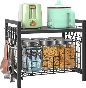 Kitchen Cabinet Organizer Basket Spice Rackorganizer Pots Pans Countertop Storage With Sliding Drawer Pull Out Sliding Basket Desktop Organizer Black
