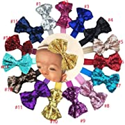 15Pcs Baby Girls Headbands 4'' Big Boutique Bling Sparkly Sequin Hair Bows Headband Elastic Hair Bands Hair Accessories for Toddlers Infants Newborns