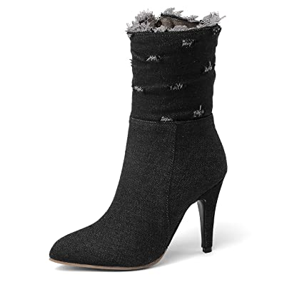 7df65e16e7b SNIDEL Ankle Boots for Women Denim Patchwork Sexy High Heeled Fashion  Zipper Jeans Booties Black5.