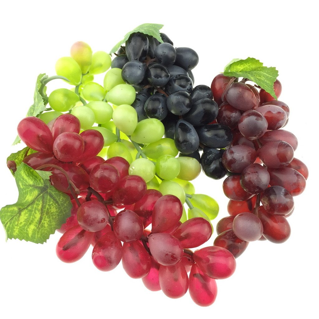 Gresorth 4 Pack Artificial Lifelike Simulation Grape Cluster Fake Fruit Black Purple Red and Green Home Kitchen Decor by Gresorth