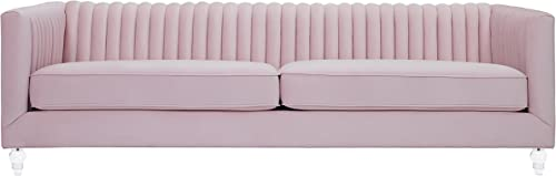 TOV Furniture The The Aviator Collection Velvet Upholstered Channel Tufted Modern Tuxedo Sofa with Lucite Legs, Blush
