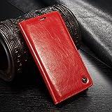 FLY SELINA iPhone 6Plus / 6sPlus 手帳型 ケース 高級レザー 横開き カバー 革 マグネット式 カード収納 スタンド機能 アイフォン6s 6プラス 財布型 カバー 耐衝撃 レッド