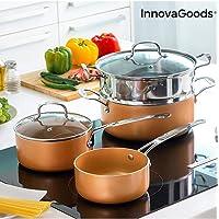 InnovaGoods IG813918 Batería de Cocina con Vaporera Copper-Effect