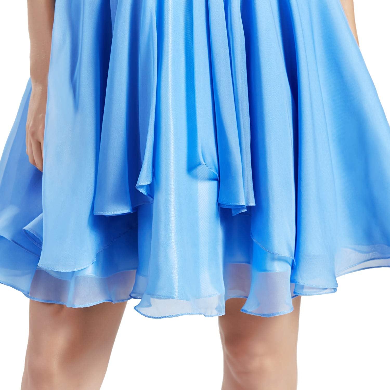 MACloth Women Short V Neck Beading Chiffon Cute Prom Homecoming Dresses Cocktail Sky Blue