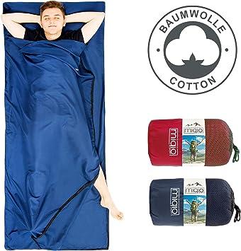 MIQIO 2 en 1 forro de algodón para saco de dormir y ligero tamaño XL para cama doble de viaje, color Azul, cremallera izquierda, tamaño open: 180 x 220 cm; closed: 90