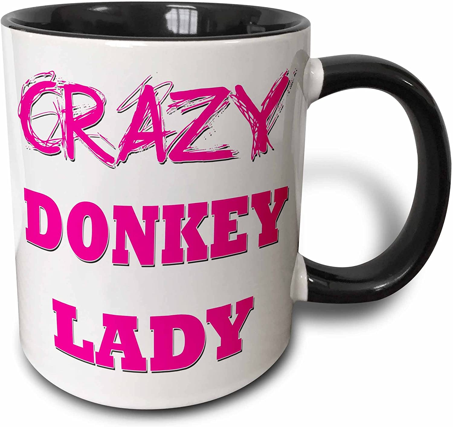 Crazy Donkey Lady mug with pink lettering.