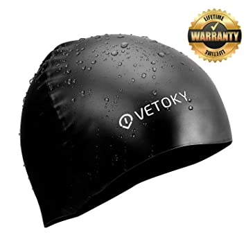 Silicone Swim Cap—Premium Wrinkle Free Silicone Cap Vetoky Blue Black Pink Waterproof  Swimming Cap