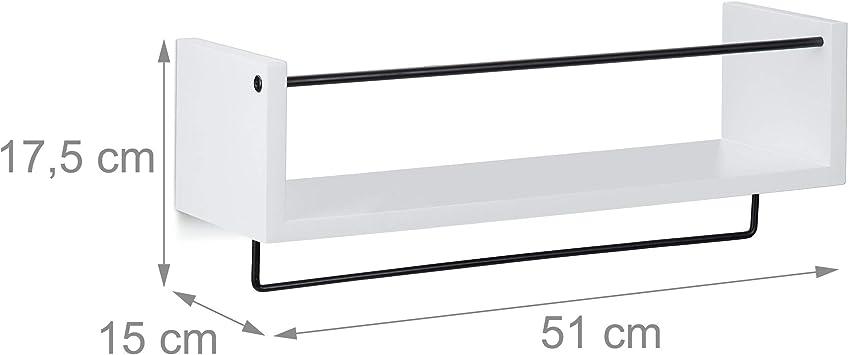 Regale f/ür die Wand HBT 17,5x51x15 cm wei/ß Relaxdays Wandregal K/üche im 2er Set mit H/ängeleiste f/ür S-Haken Handtuch