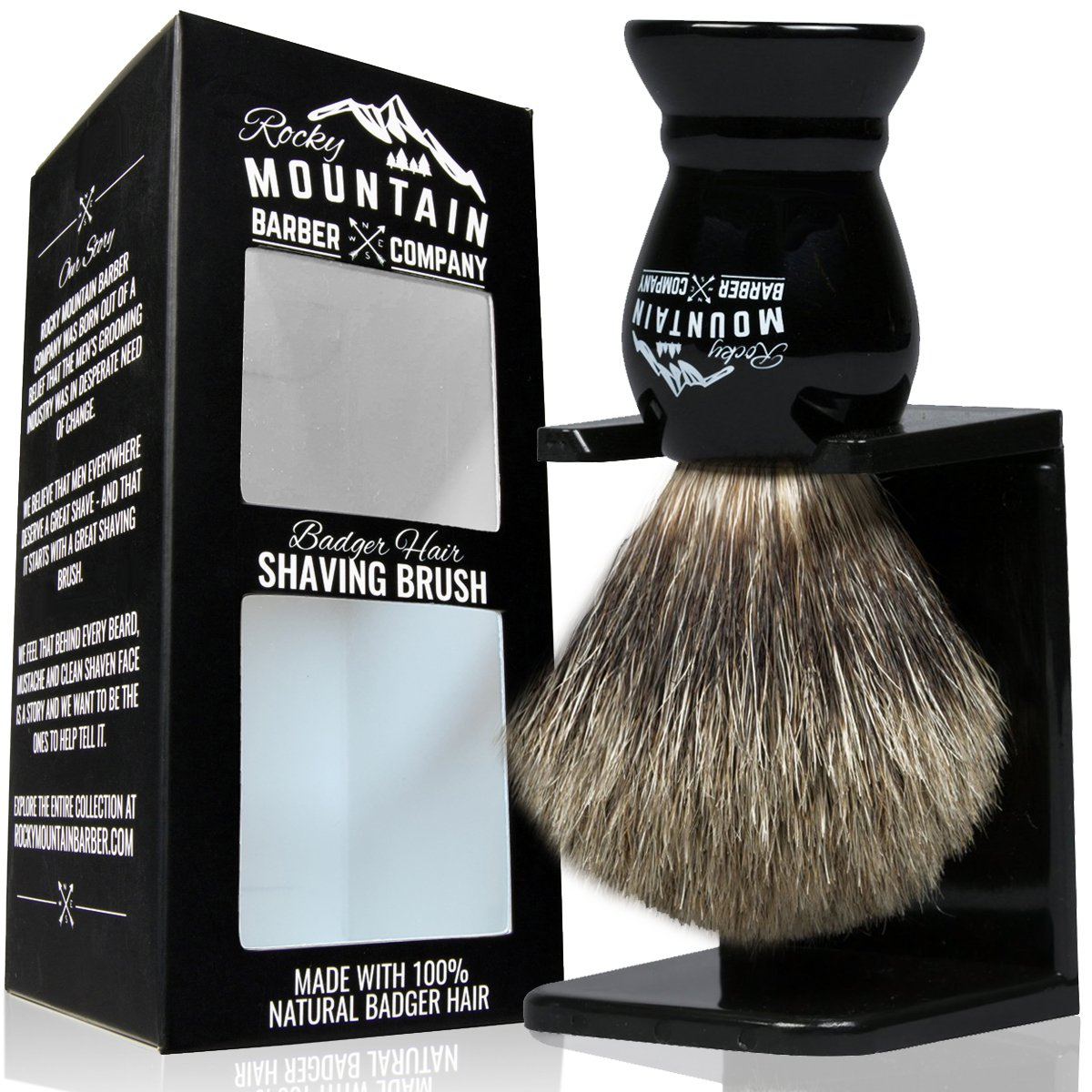 Shaving Brush with Stand - Rocky Mountain Barber Pure 100% Best Badger Hair Barber Grade with Black Heavy Duty All-Resin Handle and Oversized Bristle Head For Better Shaving Cream Lather Rocky Mountain Barber Company