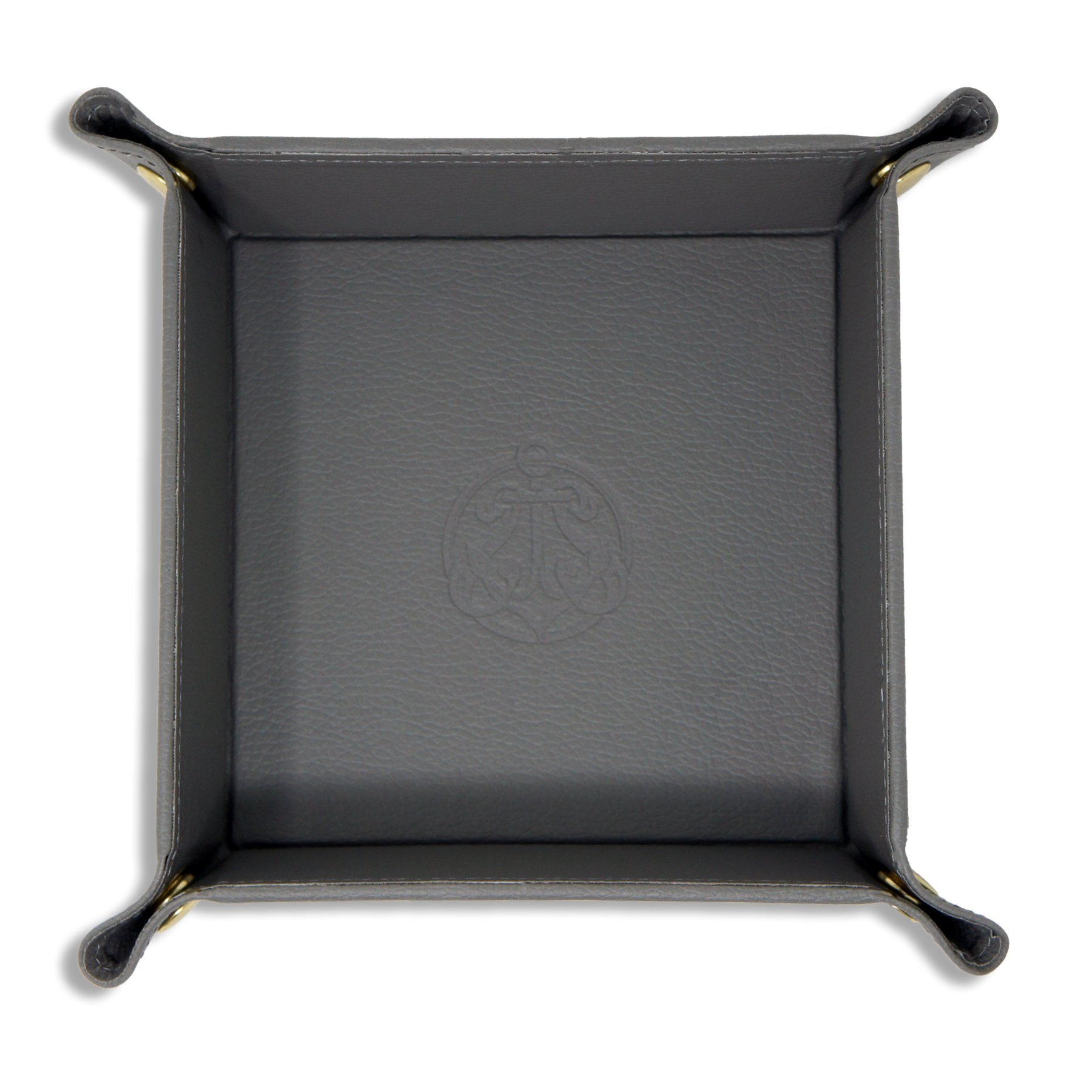 SIVEL + SHARP Leather Valet Tray - Embossed Catchall Tray with Brass Snaps (Gray)