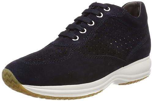 Geox d happy a, scarpe da ginnastica basse donna, (blue c4000), 39. 5 eu