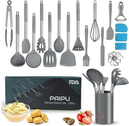 Utensilios de Cocina Silicona PAIPU, 32 Piezas Utensilios de Cocina Resistentes al Calor y Antiadherentes, Juego de Raspadores de Pasta, 3 Espátulas de Repostería, Triturador de Patatas, Gris
