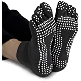 Crown Sporting Goods Yoga Toe Socks with Slip-Free Silicone Texturizing Beads