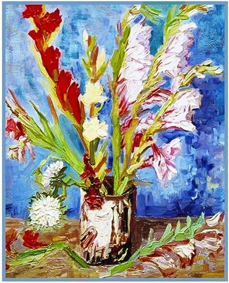 Jarrón rojo blanco Gladiolos por Vincent van Gogh de punto de cruz ...