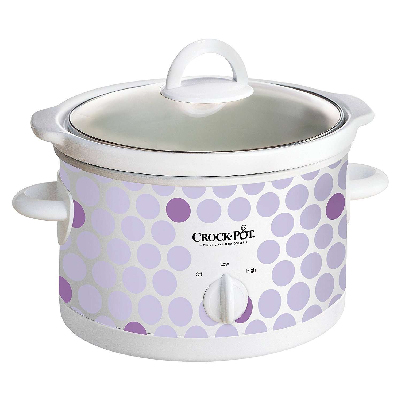 Crock-Pot 2.5 Quart Manual 2 Settings Slow Cooker with Recipes, Purple Polka Dot