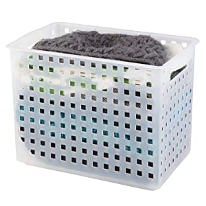 Open Weave Storage Organizer Bin with Handles for Kitchen, Fridge, Freezer, Pantry, and Cabinet Organization, BPA-Free