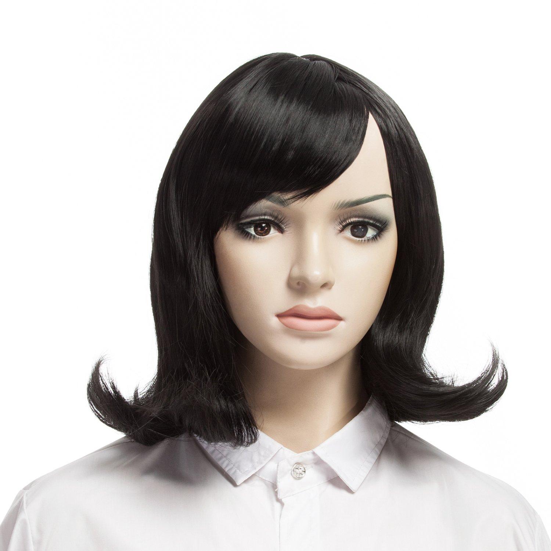 YOPO Wig, Short Wavy Black Wigs for Women, 16'' Cosplay Medium Length Wig(Black) by YOPO