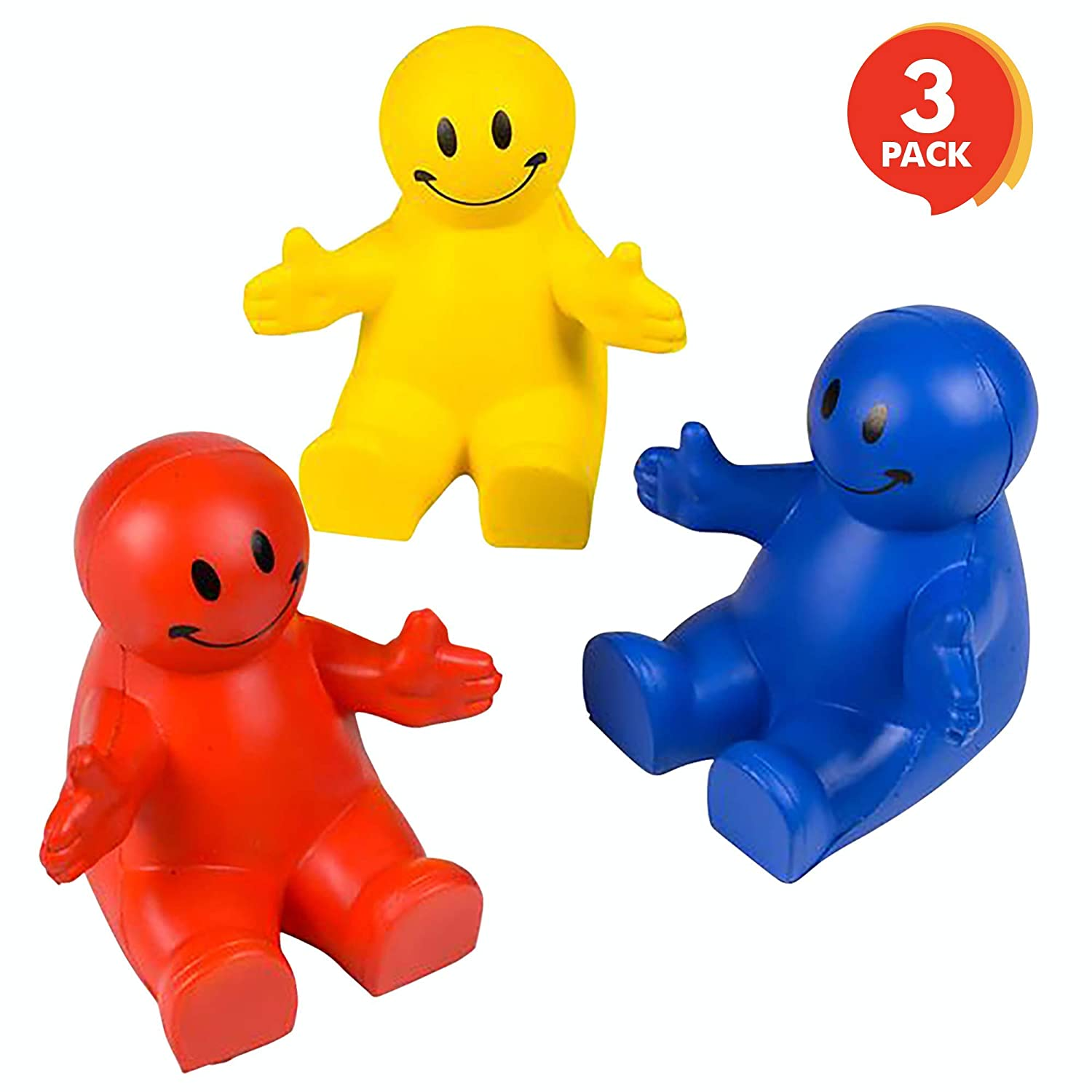 ArtCreativity 4 Inch Squeezable Smiley Phone Holder, 3 Pack, 2-in-1 Smartphone Stand, Squeeze Stress Relief Fidget Toy for Kids & Adults, Desk Decoration, Party Favor, Office Gift, Red-Blue-Yellow