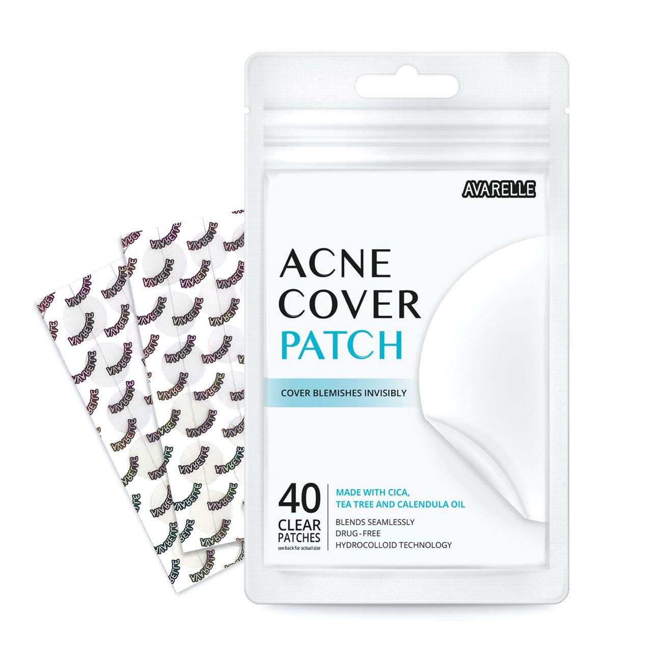 Avarelle Acne Absorbing Cover Patch Hydrocolloid Spot Treatment with Tea Tree Oil, Calendula Oil and Cica, Vegan, Cruelty Free Certified (40 Count): Beauty