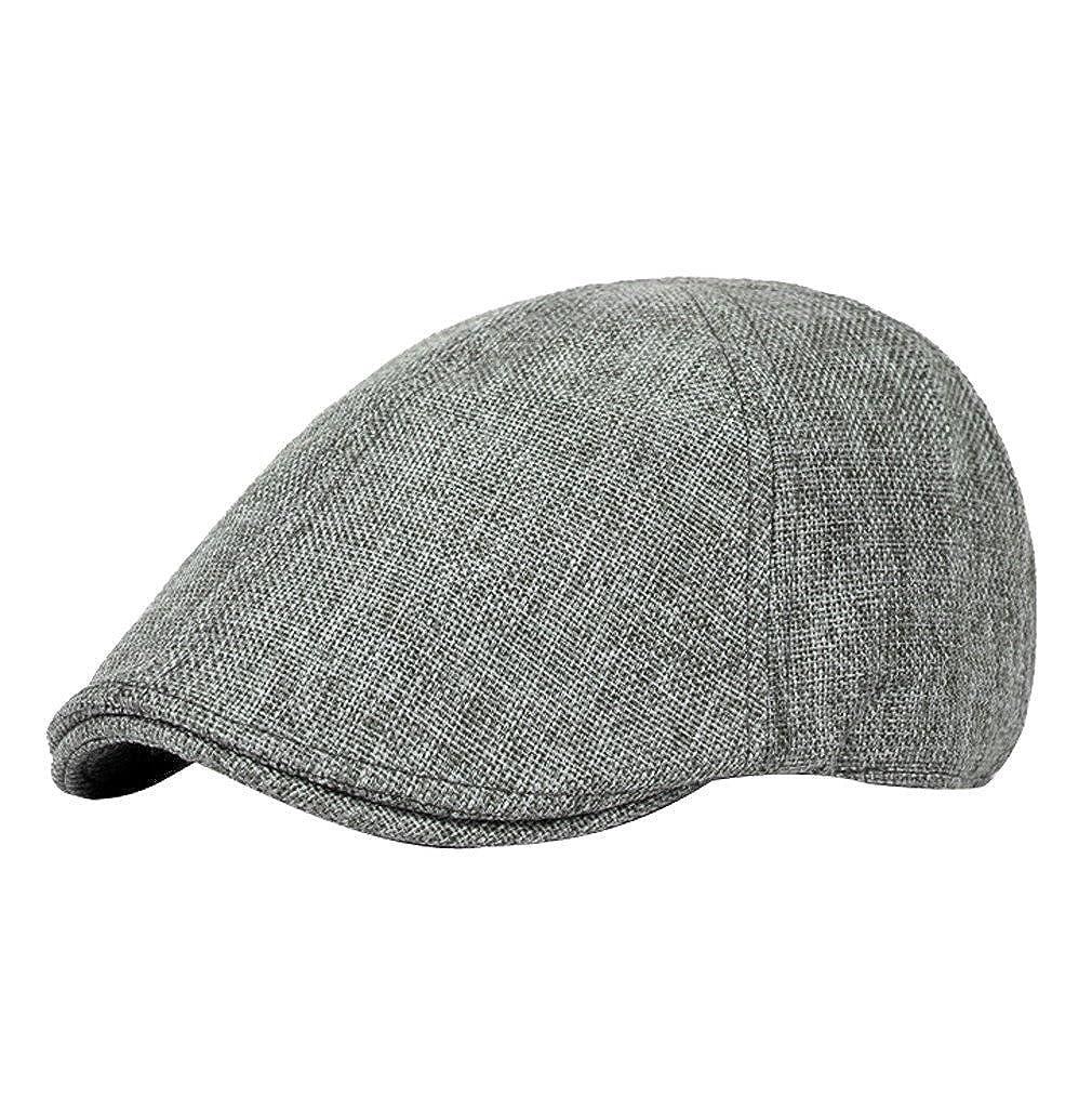 YueLianメンズレディースソリッドカラーリネンNewsboy Capドライバ帽子 B01MAV4UGN  Dark Gary