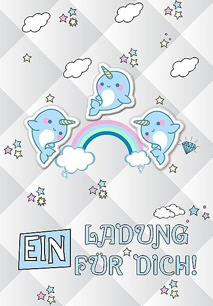Dulce Narwal Discreta Unicornio Amigo Ballena Invitación 12