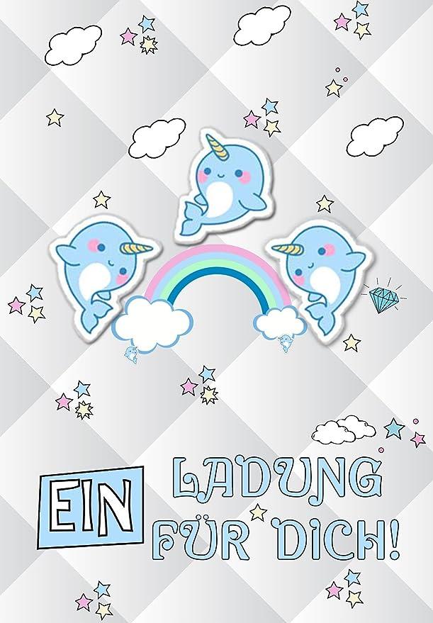 Dulce narwal Discreta Unicornio amigo ballena Invitación 12 ...