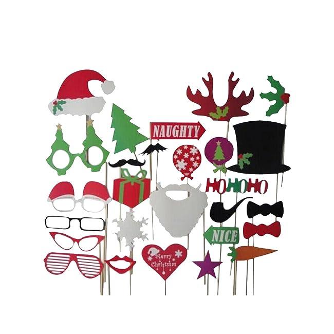 27pcs Christmas Santa Hat Party Masks Photo Bo...