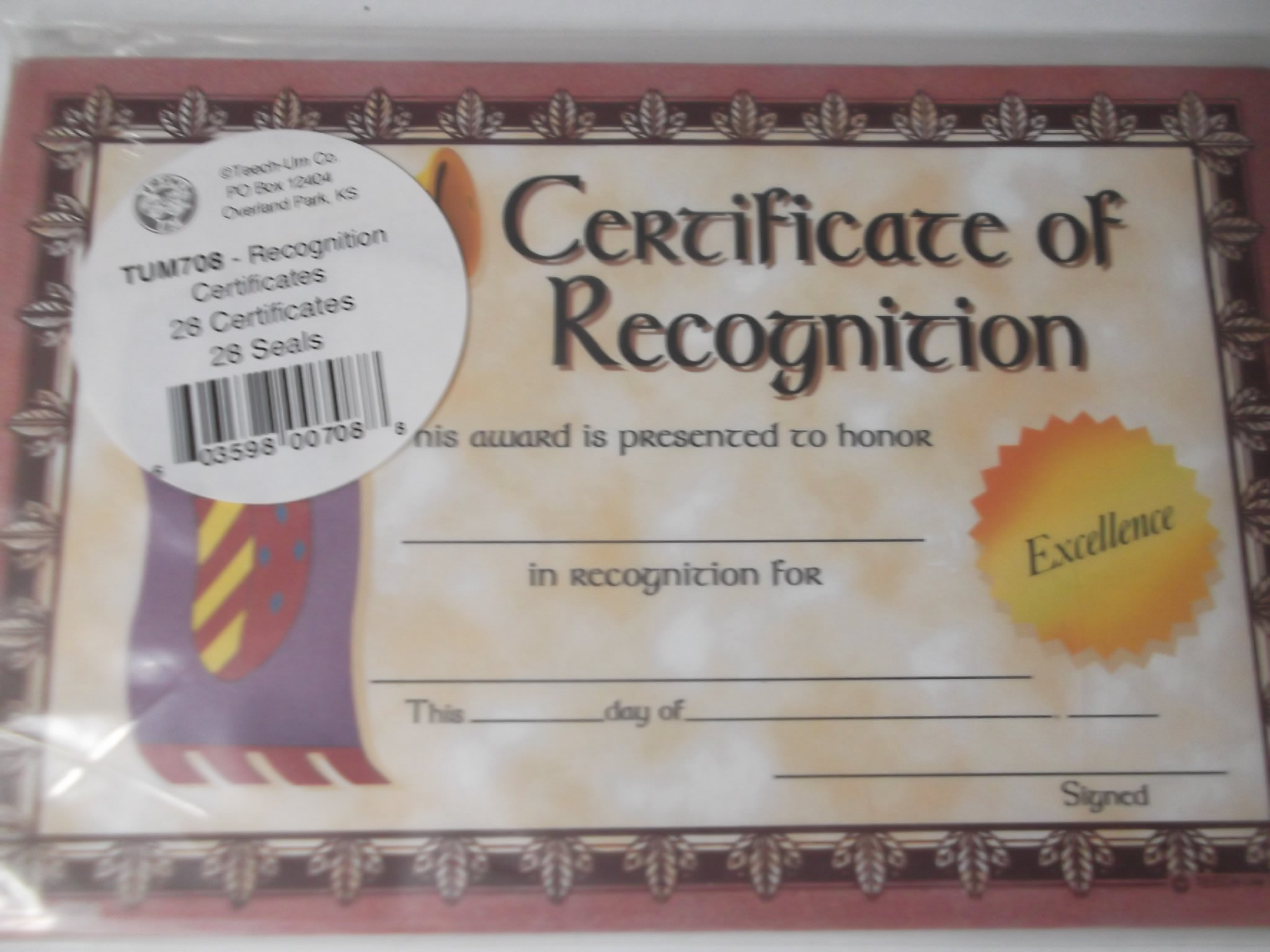 Certificate of Recognition 28 Count