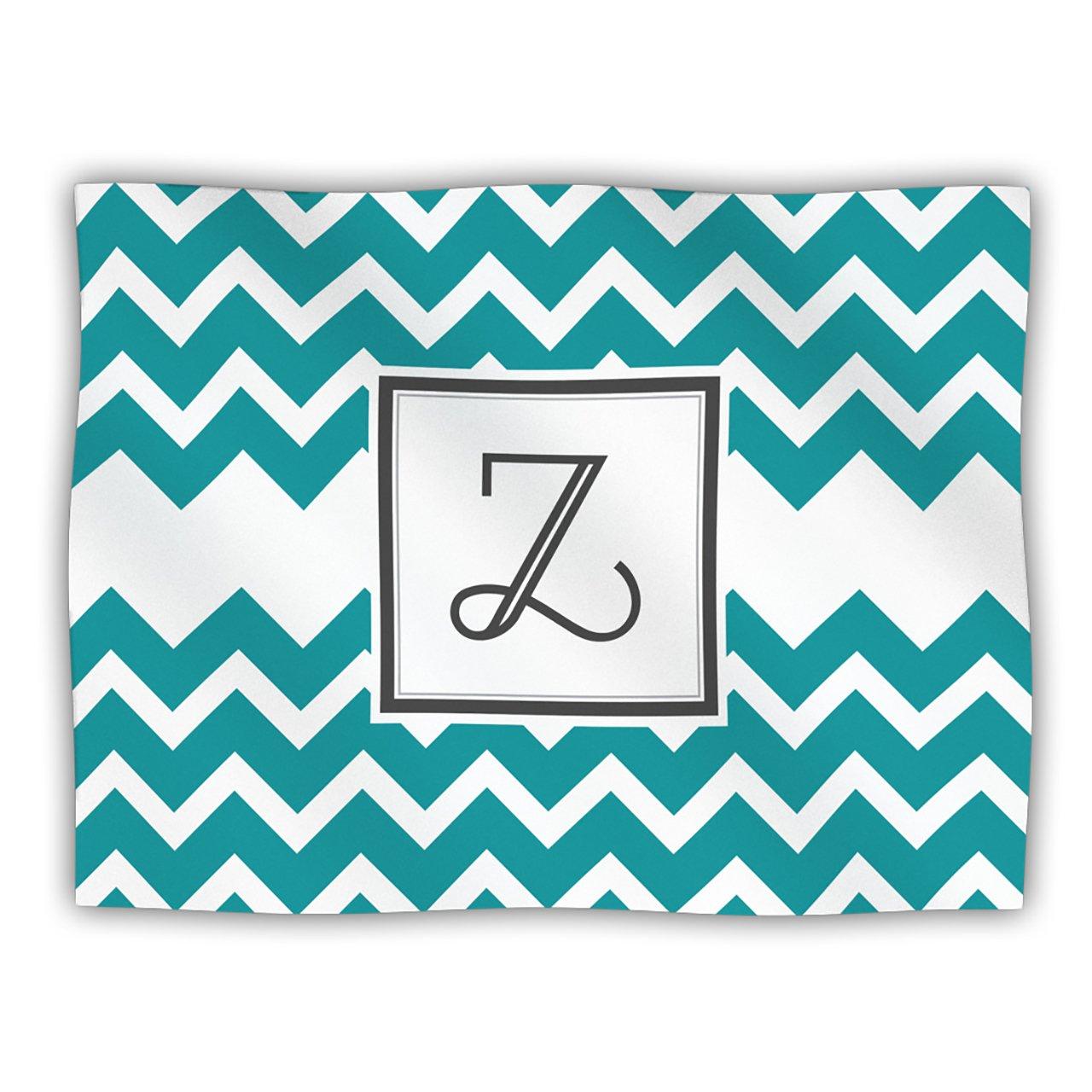 Kess InHouse KESS Original 'Monogram Chevron Teal Letter Z' Dog Blanket, 40 by 30-Inch