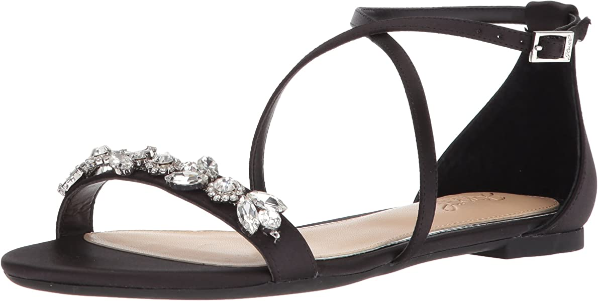 c4516dc43 Badgley Mischka Jewel Women s Tessy Flat Sandal Black 5.5 Medium US