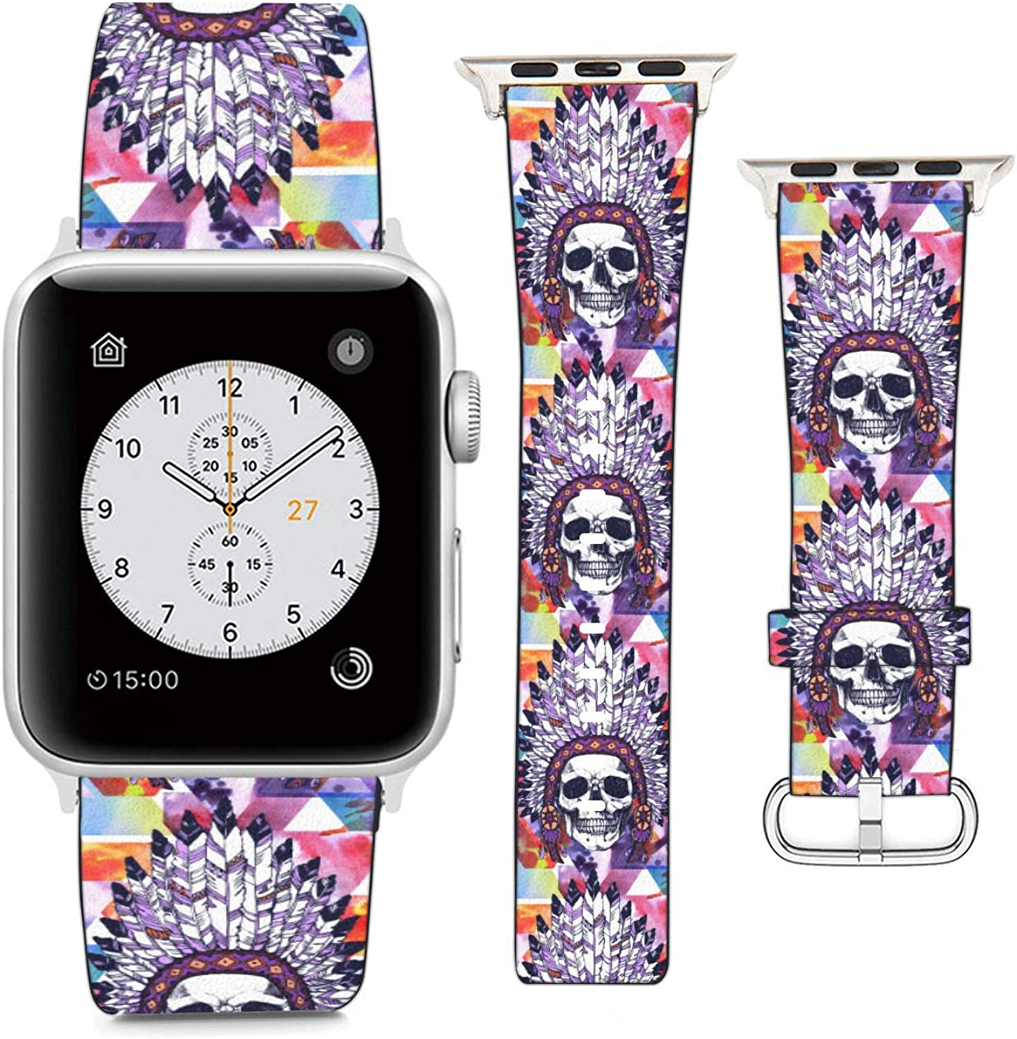 Compatible with Apple Watch Wristband 42mm 44mm, (Native American Indian Chief Skull) PU Leather Band Replacement Strap for iWatch Series 5 4 3 2 1