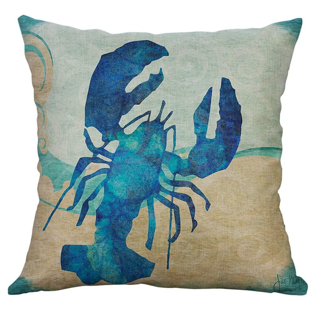 Retro Sea Animal Cotton Linen Pillow Case Sofa Cushion Cover Throw Home Decor