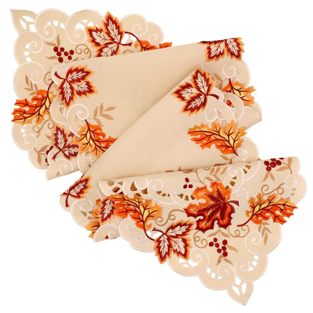 OurWarm 15 x 67 Inch Embroidered Maple Leaves Table Runner Handmade Table Cover for Fall and Thanksgiving Party Decoration