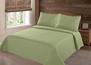 GorgeousHomeLinen (NENA) Sage Green Solid Hypoallergenic Quilt Bedspread Bed Bedding Coverlets Cover Set with Pillow Cases Size inc: Twin (2pc) Full Queen King (3pc) (King)