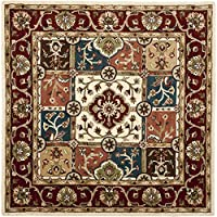 Safavieh Heritage Collection HG925A Handcrafted Traditional Oriental Multi and Red Wool Square Area Rug (8 Square)