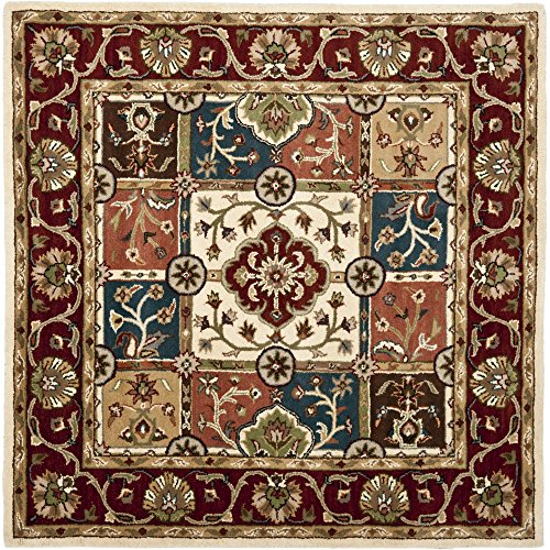 Safavieh Heritage Collection HG925A Handcrafted Traditional Oriental Multi and Red Wool Square Area Rug (8' Square)