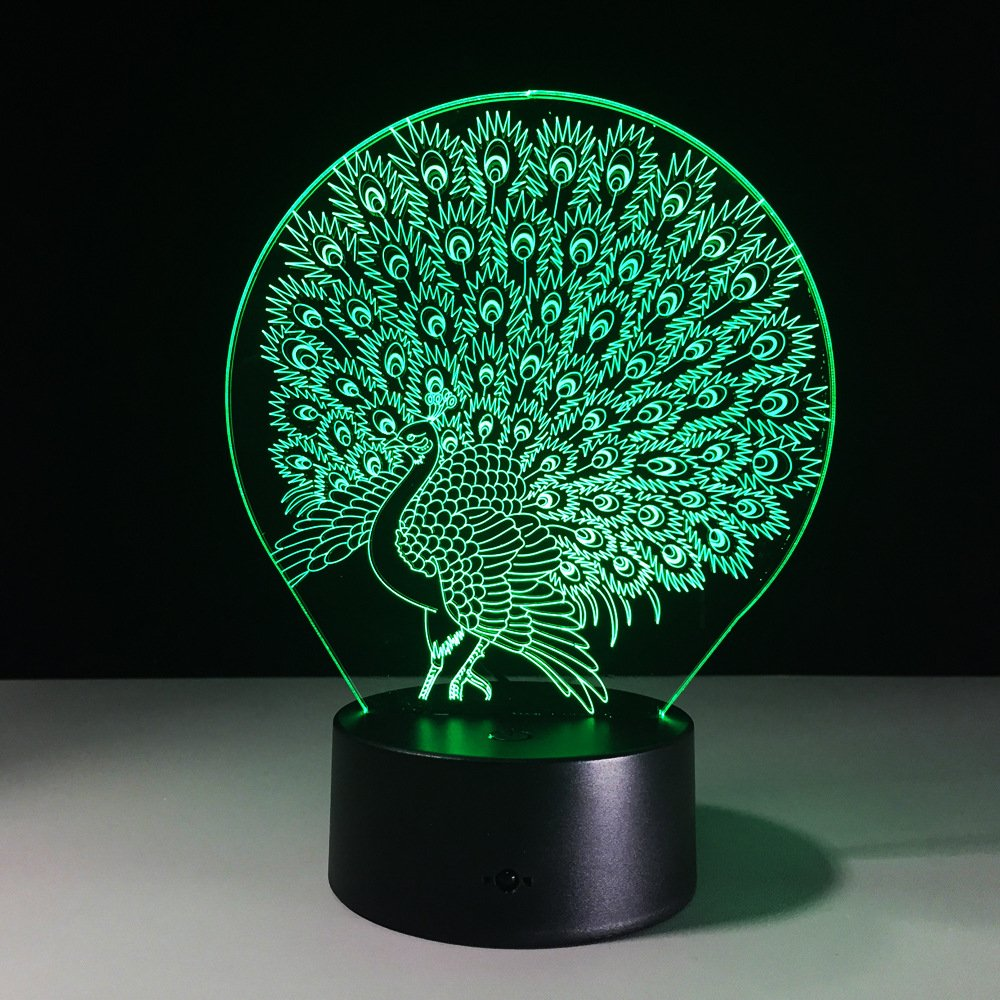 Peacock Peahen Visual 3D Night light Small Dog Toys 2D lamp Xmas Chirstmas Festival Birthday Valentines Day Gift Nursery Bedroom Desk Table Decoration for Baby Kids children Lovers