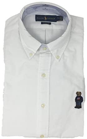 9b2b79fc Image Unavailable. Image not available for. Color: Polo Ralph Lauren Men's  Long Sleeve Oxford Button Down Shirt-WhiteBear-M