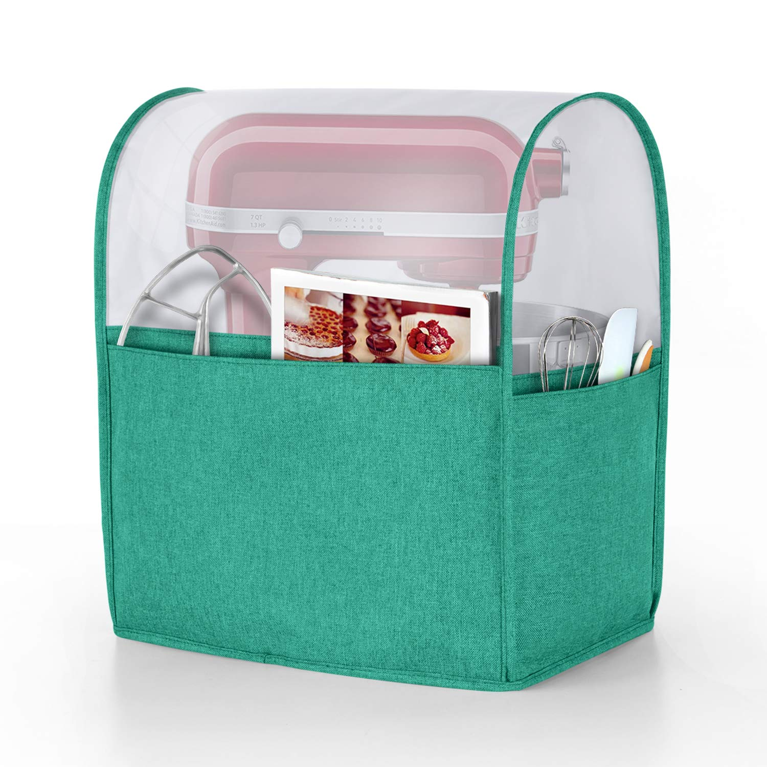 Luxja Dust Cover for 6-8 Quart KitchenAid Mixers, Cover (Clear Top) with Pockets for KitchenAid Mixers and Extra Accessories (Compatible with All 6-8 Quart KitchenAid Mixers), Green (Patented Design)