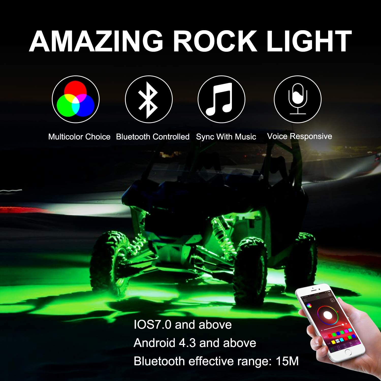 OFFROADTOWN RGB Rock Light Kits RGB LED Rock Lights with 8 pods Lights Neon Trail Rig Lights Underglow UTV ATV SUV Off Road Truck Boat