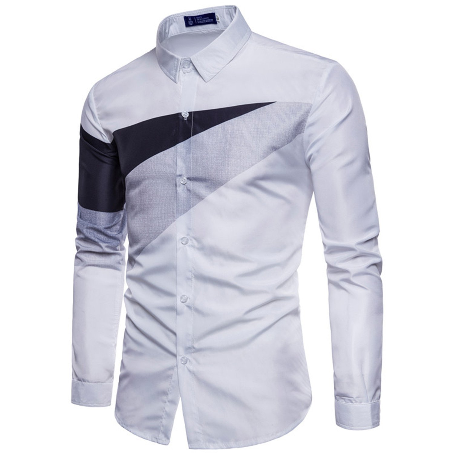 Engineeringed Mens Casual White Button Down Shirt 2018 Brand New Long Sleeve at Amazon Mens Clothing store: